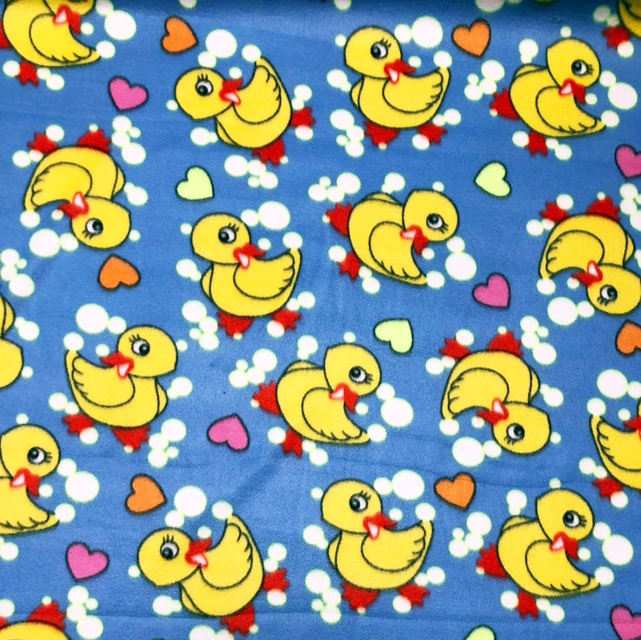 Blue Rubber Ducky Bubbles and Hearts Fleece Fabric