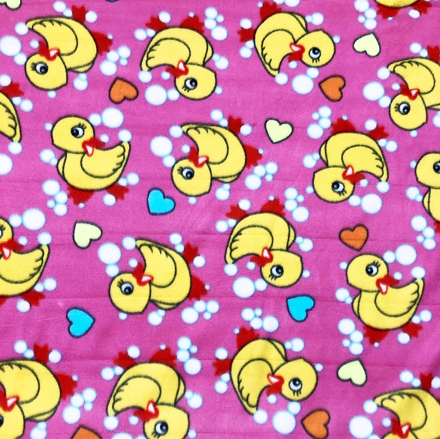 Fuschia Rubber Ducky Bubbles and Hearts Fleece Fabric