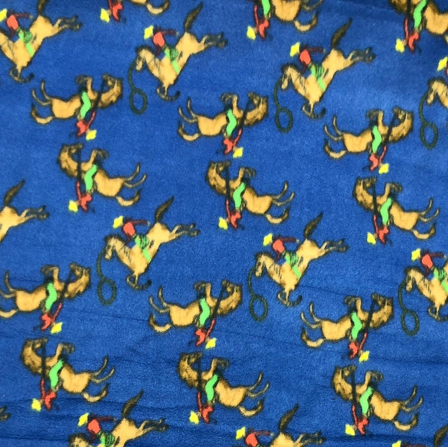 Blue Ride Em Cowboys Rodeo Fleece Fabric