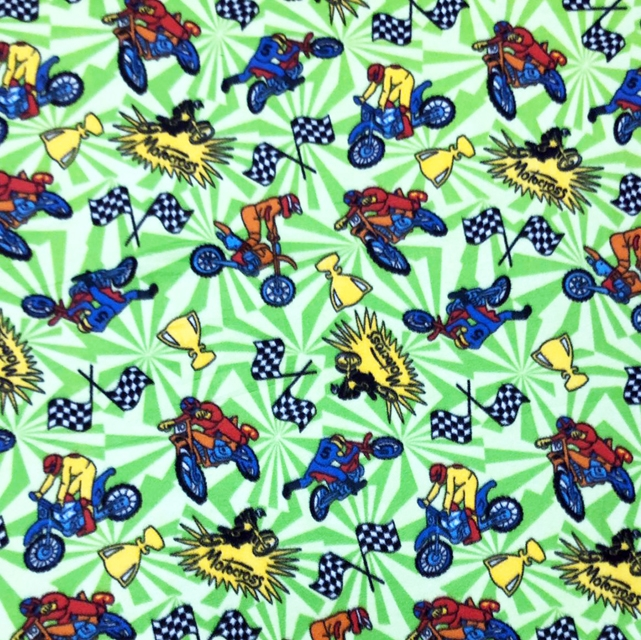 Green Champion Motorcross Racer Fleece Fabric