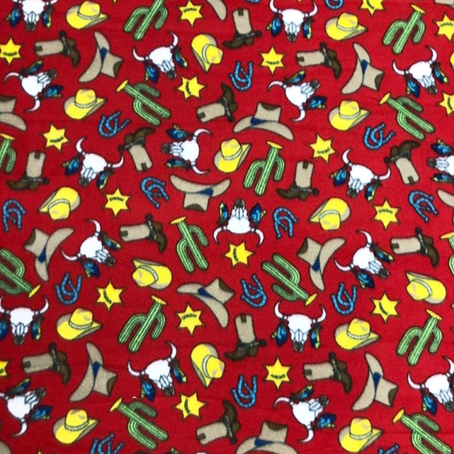 Red Cowboy Gunsmoke Rodeo Fleece Fabric