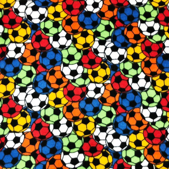 Soccer Balls Allover Fleece Fabric