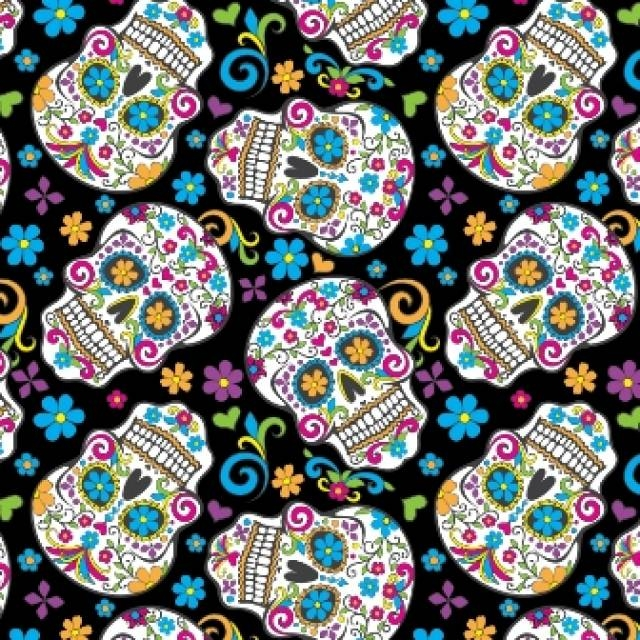 Black Folkloric Skulls Day of the Dead Fleece Fabric