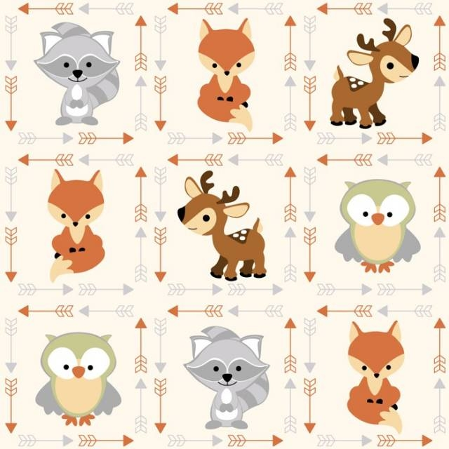Fox Raccoon Owls Deer Fleece Fabric