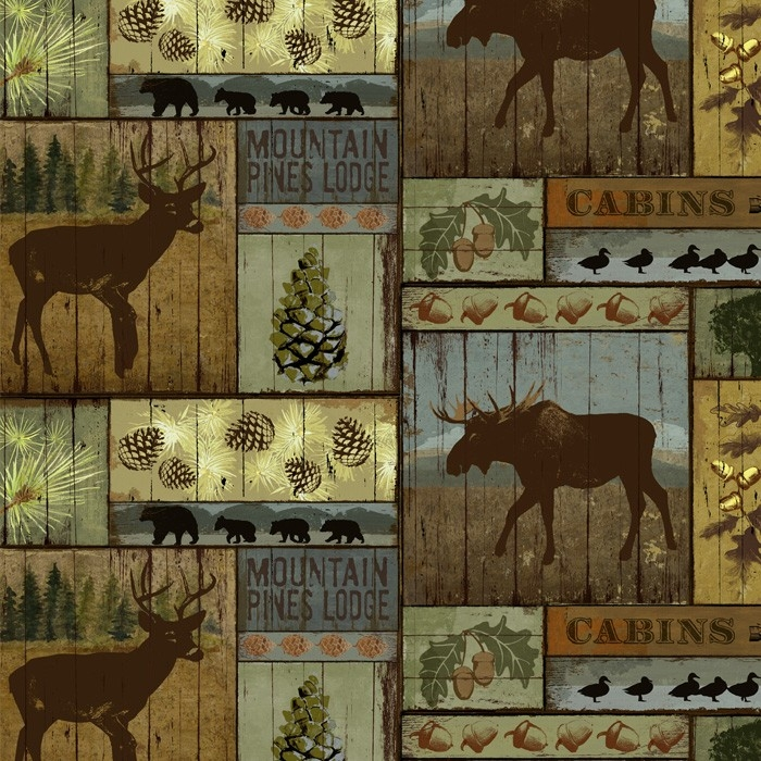 Mountain Pines & Lodge Fleece Fabric