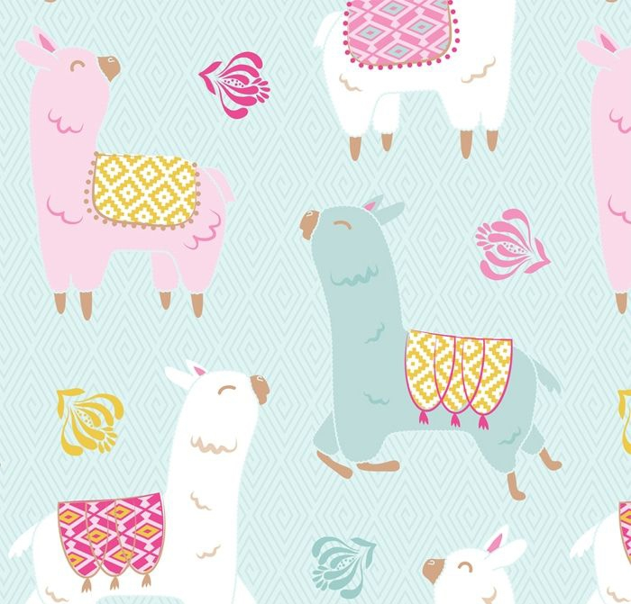 Happy Llamas Fleece Fabric