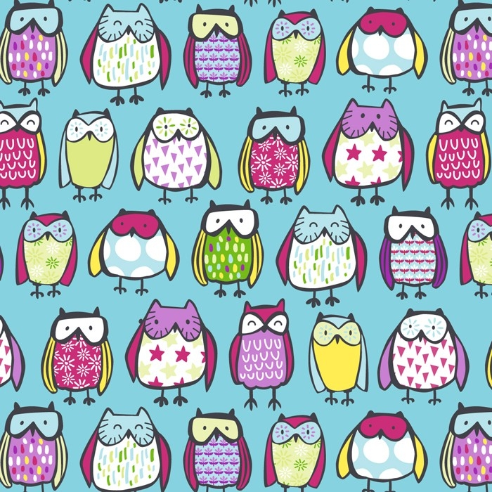 Standing Owls Fleece Fabric