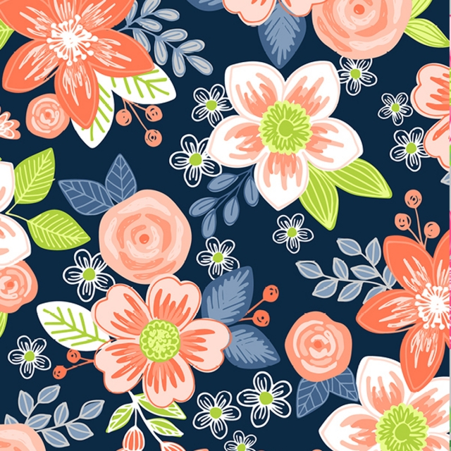 Tropical Ventura Orange Floral Fleece Fabric