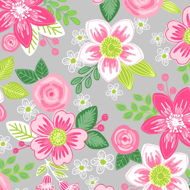 Tropical Ventura Fuchsia Floral Fleece Fabric
