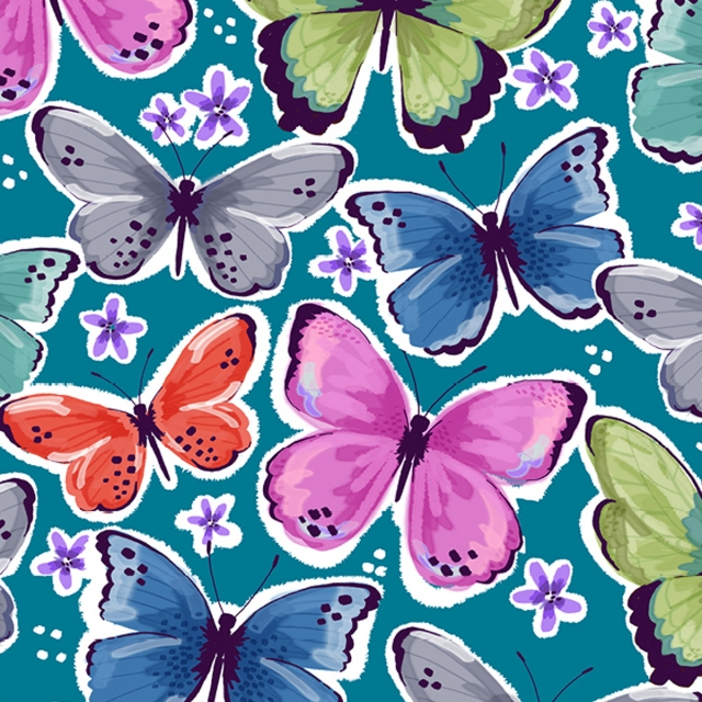 Tropical Butterflies Teal Fleece Fabric