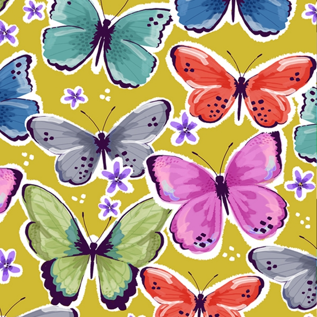 Tropical Butterflies Canary Fleece Fabric