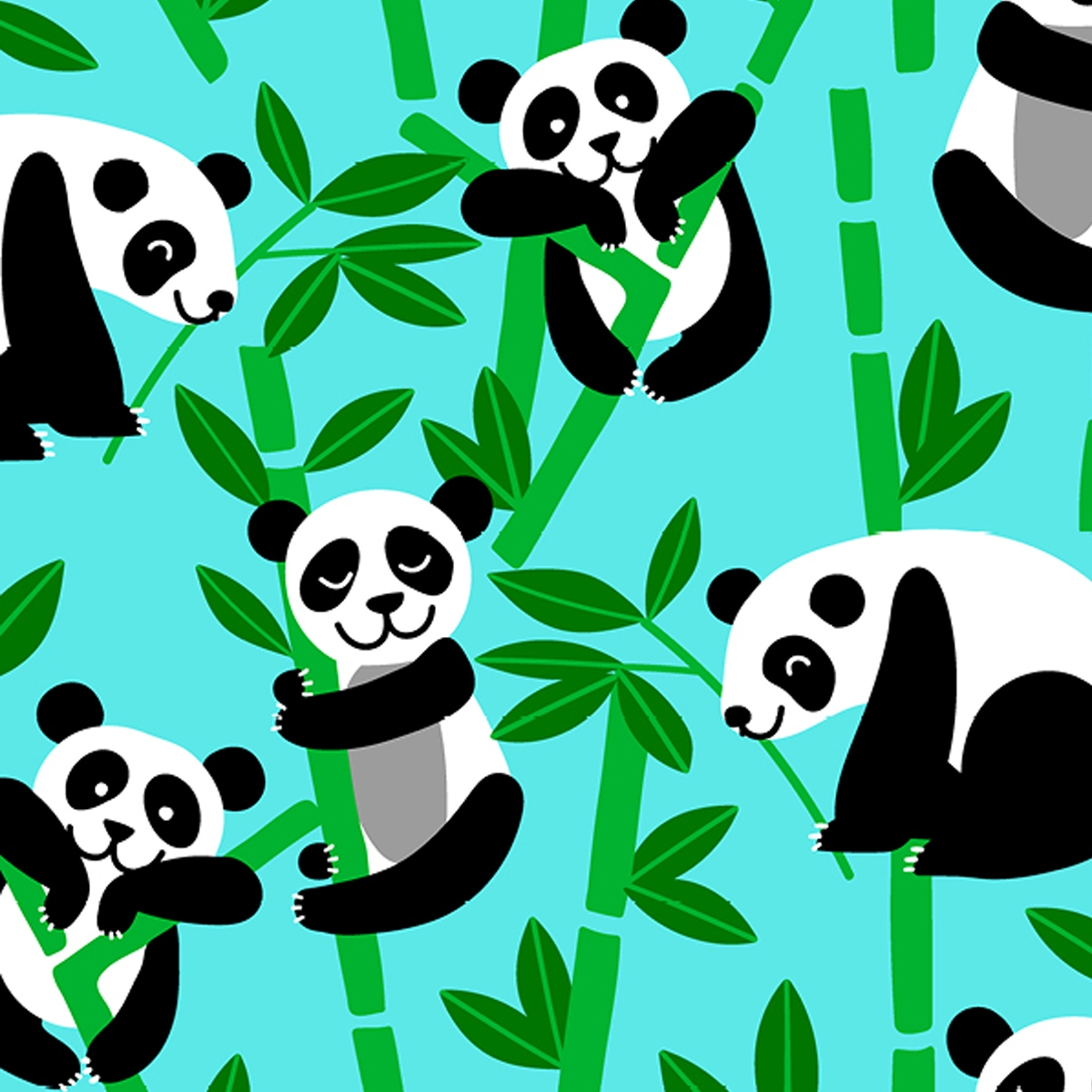 Bamboo Panda Bear Fleece Fabric