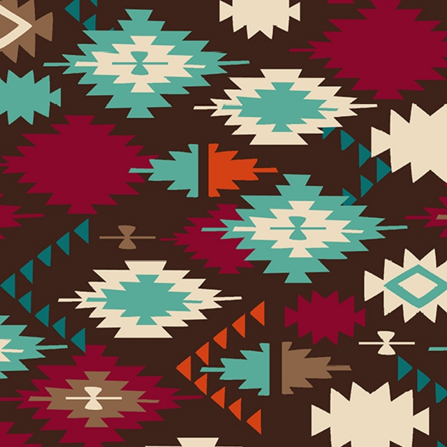 Santa Fe Brown Native American Fleece Fabric