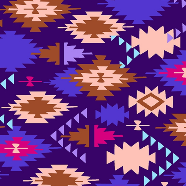 Santa Fe Purple Native American Fleece Fabric
