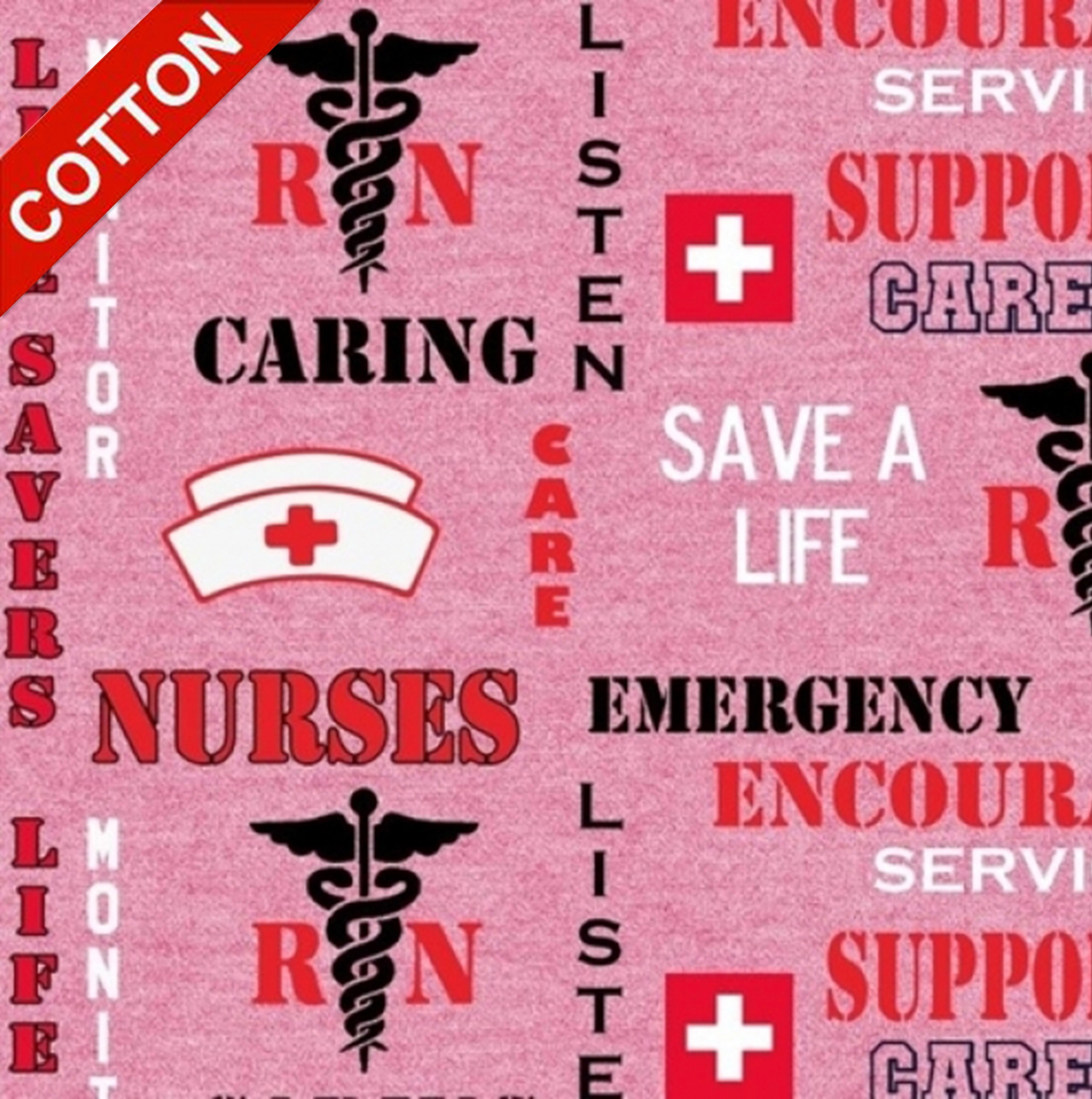 Nurses Emergency Support Medical Cotton Fabric