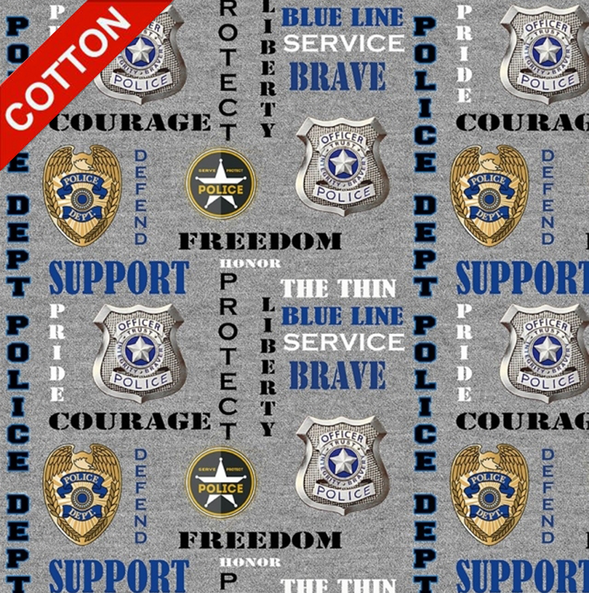 Police Department Cotton Fabric