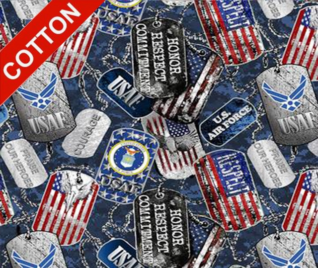 Military Dogtags Airforce Cotton Fabric
