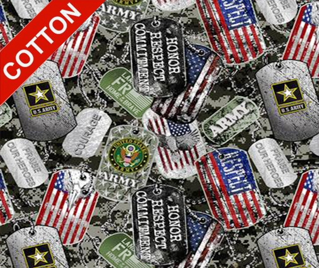 Military Dogtags Army Cotton Fabric