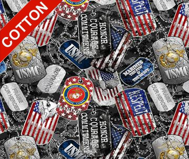 Military Dogtags Marine Corps Cotton Fabric