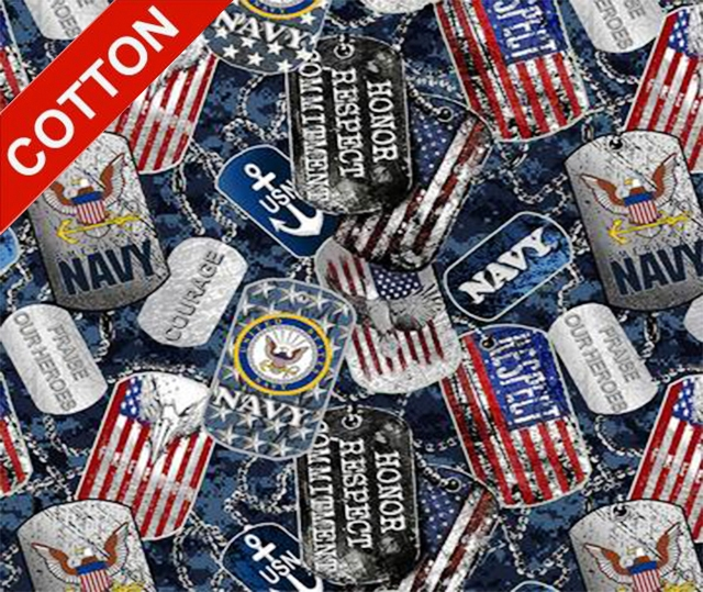Military Dogtags Navy Cotton Fabric