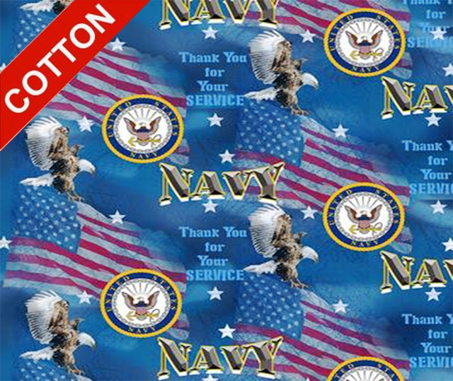 Military Flags Navy Cotton Fabric
