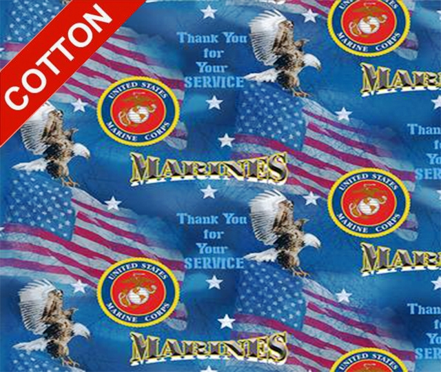 Military Flags Marine Corps Cotton Fabric