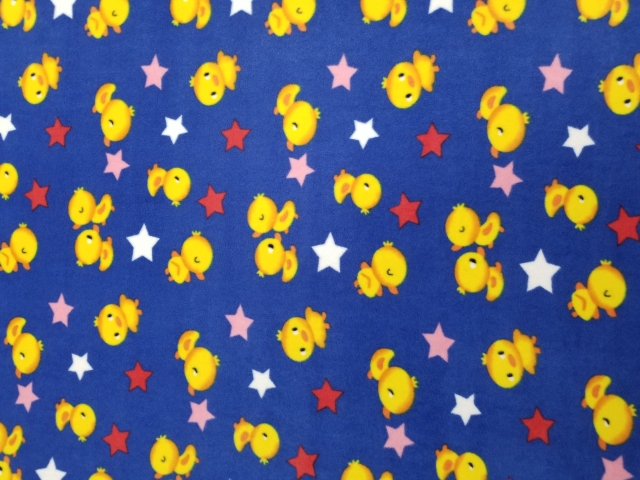 Chicks and Stars Allover Fleece Fabric
