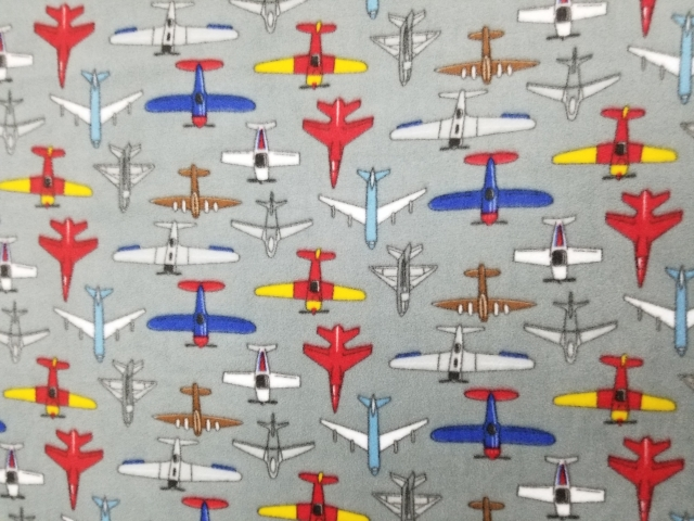 Flying Airplanes Allover Fleece Fabric