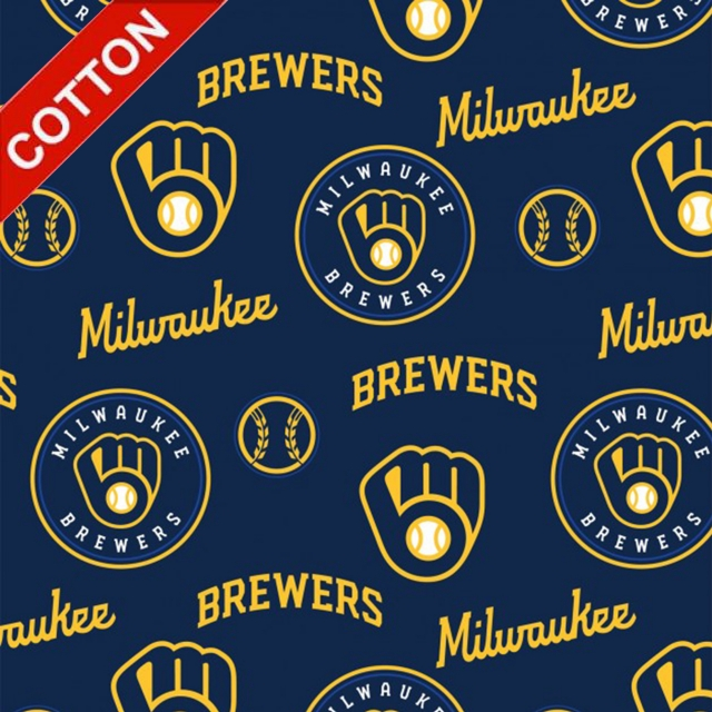 Milwaukee Brewers Allover MLB Cotton Fabric