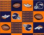 Denver Broncos Blocks NFL Fleece Fabric