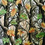 Bright Green and Orange Leaves with Trees Fleece Fabric