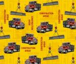 Construction Trucks Ahead Allover Fleece Fabric