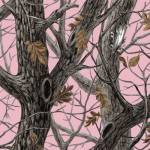 Winter Tree Leaves Camouflage on Pink Fleece Fabric