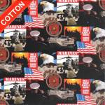 US Army Marines Branches Cotton Fabric