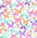 April Butterflies White Fleece Fabric