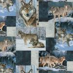 Wolves Patchwork Allover Fleece Fabric