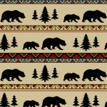 Cozy Lodge Forest & Bear Stripe Fleece Fabric