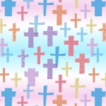 Colorful Religious Christian Crosses Fleece Fabric